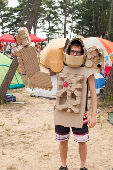 this guy made a robot costume out of cardboard!