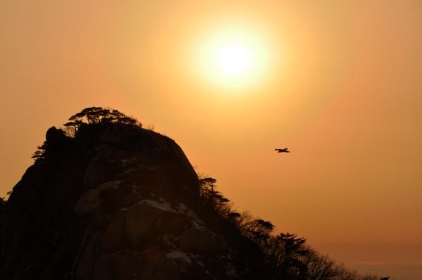 Bukhansan's crow flies into the sun