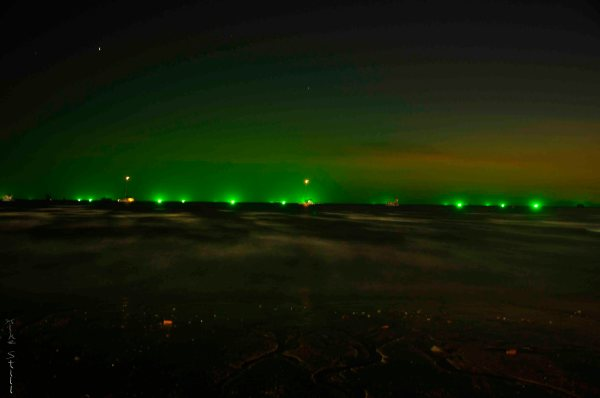 Green fishing lights off of Ao Nang Beach, Krabi, Thailand