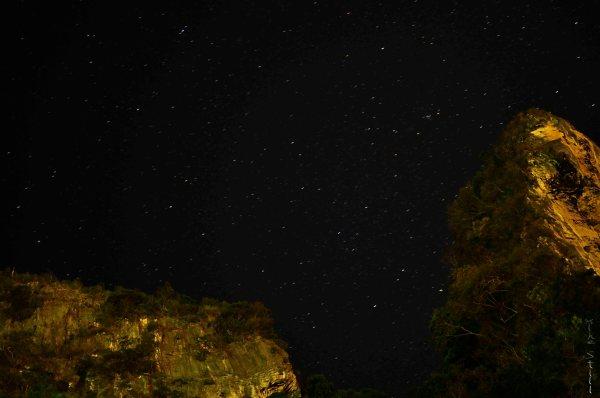 Starry sky above Ao Nang Cliffs, Krabi, Thailand