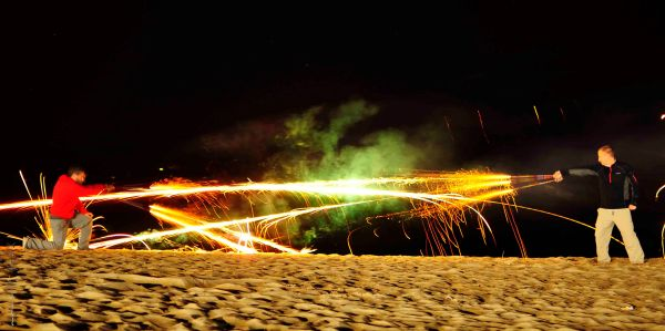 Playing with long exposures & fireworks at hajodae beach, Yangyang South Korea